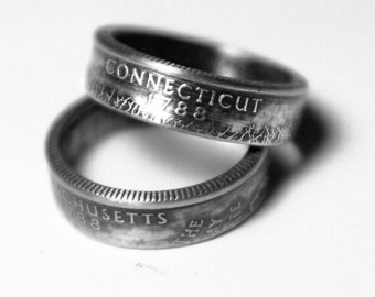 Handcrafted Ring made from a US Quarter - Connecticut - Pick your size