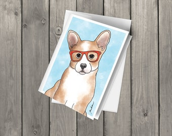 Corgi, Welsh Corgi card, Corgi Greeting card, Dog Greeting card, Blank Note Card with envelope