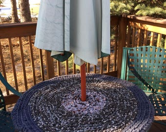 Outdoor Fleece Rug or Patio Table Pad-Brown and Gray Heather
