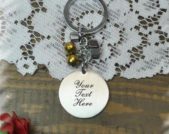 personalized  Stainless steel key chain , Bridesmaid Gift , Custom Wedding Gift, Name Initials key chain, Handmade monogram key chain