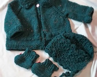 Hand Knit Girl Baby Sweater Set 0-3 Months