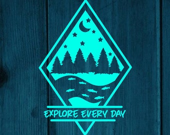 Explore Every Day Outdoors Them Travel Car Window Vinyl Decal For Most Smooth Surfaces