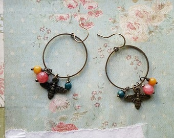 Bee Earrings, Colorful Beaded Hoop Earrings With Brass Bee Charms, Brass Hoop Earrings, Vintage Bead Dangle Earrings