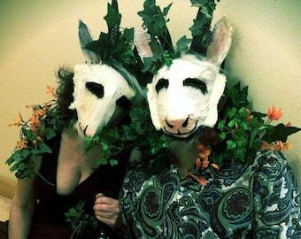 Satyr paper masks Masquerade goat costume for Mardi Gras Bacchanalia Wine God Pan masks. Designer horned masks for masked ball costume party