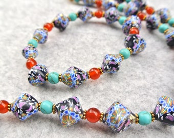 Necklace and Bracelet set - Polymer clay Art beads and Gemstones. Turquoise and Red agate beads. Clay art jewellery. NC19