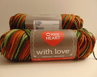 Autumn - Red Heart With Love worsted weight variegated 100% acrylic yarn - 3000