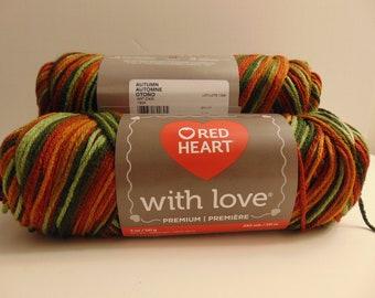 Automne - coeur rouge avec amour peignée panachée 100 % acrylique - 3000