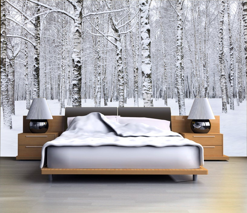 Birch tree forest in winter mural repositionable peel & stick