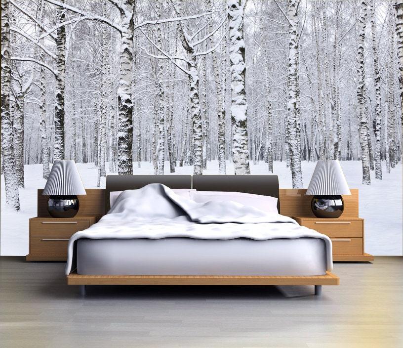 Birch Tree Forest In Winter Mural Repositionable Peel Stick