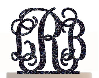 Wedding Cake Topper Monogram Initial Personalized with choice of color