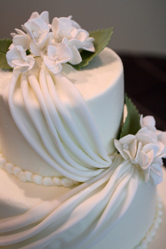 12 wedding cake leaves gumpaste hydrangea leaves two