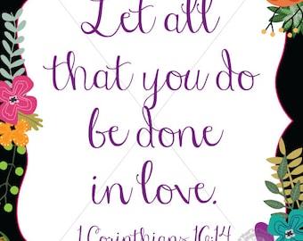 Floral Bible Verse Print   Instant Download