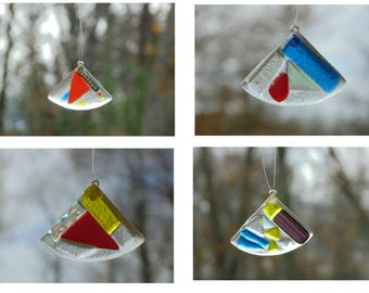 Fused glass suncatcher ornaments, set of 4, dichroic glass, funky abstract, Christmas ornaments, holiday ornaments