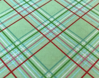 Sugar Hill Green Plaid Fabric, by Tanya Whelan, for Free Spirit Fabrics, Westminster Fibers #PWTW 048 Plaid, Shabby Chic Fabric, Christmas