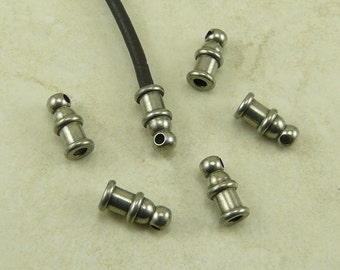 6 TierraCast 2mm Pagoda Leather Cord End - Tin Oxide Finish Plated Lead Free Brass - I ship Internationally 0200