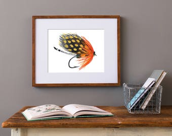 Watercolor Fly, Bass Fly Art, Fly Fishing Gifts, fly fishing art, Fishing Gift for him, Art for Man Cave, fishing fly art, fishing painting