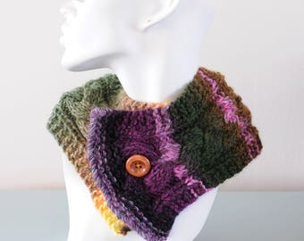 Purple Knitted Neckwarmer - Green Pink Short Scarf Chunky Wool Acrylic Cable Scarflette Collar Button Winter Accessory by Emma Dickie Design