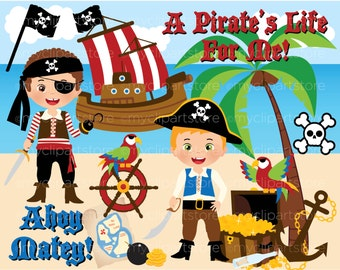 Clipart - Pirate's Adventures / Boy Pirates - Digital Clip Art (Instant Download)
