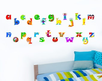 Monster ABC Boys Dinosaur Alphabet - Childrens Nursery Printed 'Peel & Stick' Art Vinyl Wall Stickers - Designed by Rubybloom Designs