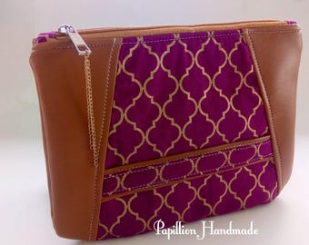 Purple and gold clutch, boysenberry wristlet, evening purse, day clutch, metallic purse