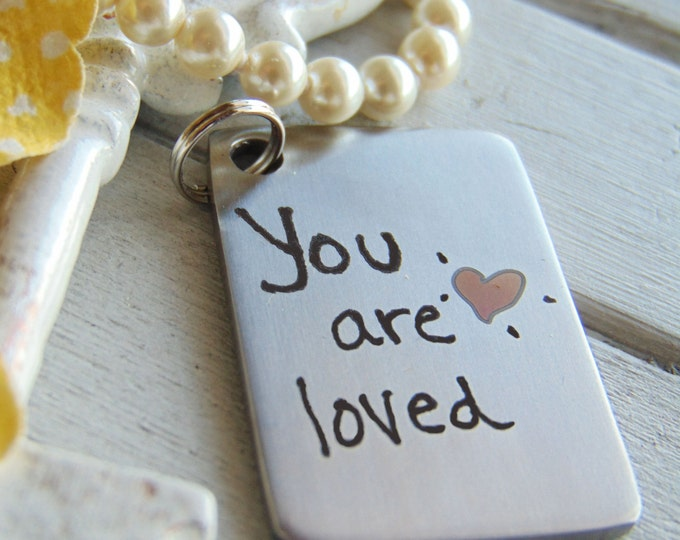 Handwritten Key Chain- Your Handwriting, or Custom Font Text, with Laser Engraved Color Etched Heart >NEW!!! Personalized Steel KeyChain