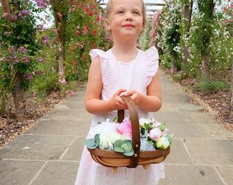 Rustic peonies basket, bridesmaid basket, flower girl basket, silk flower basket, bridal basket, wedding basket, bohemian, wedding flowers