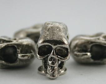 12 pcs. Gunmetal Skull Skull Head Button Charms Pendants Decorations Findings 17 mm. SK Gun HO