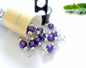 Tiny Purple Glass Pearl Dangle Beads