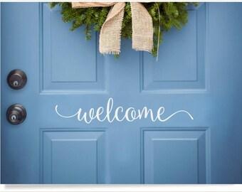 Front door welcome decal, cute welcome sticker greeting for home, house door saying, welcome to our home, door vinyl decal, porch door decor