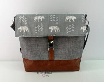 Lulu Large Flap Messenger Satchel  - Bears and PU Leather READY to SHIP  Travel Business Nappy Bag Stroller Attachment