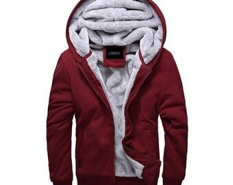 Hoodie Polar Zip Up Sweatshirt Capuche Kapuzenpullover Felpa