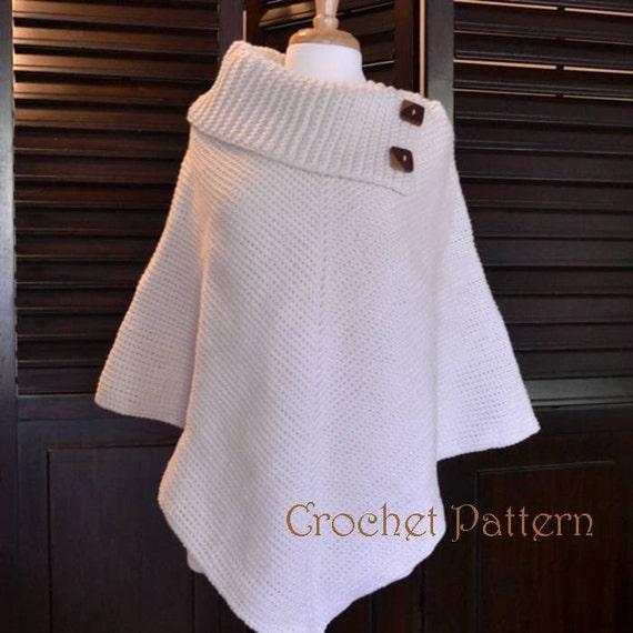 Crochet Poncho Pattern Cowl Neck Poncho Womens Poncho