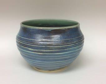 Wheel thrown bowl, wheel thrown pottery, pottery, ceramic bowl, serving bowl, ceramics, blue bowl, large ceramic bowl, large bowl