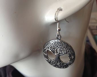 Large Tree of Life earrings made with Australian Pewter and Surgical Steel hook