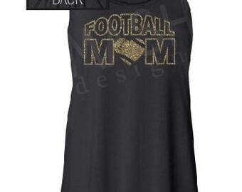 Custom Football Mom, flowy racerback tank top, personalized football tank, glitter football, glitter tank top, football season, high school