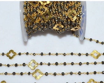 Beautiful Pyrite Quatrefoil Rosary Beaded Chain - Pyrite Clover Faceted Wire Wrapped Rosary Chain , 3.50 - 4 mm - RB5017A