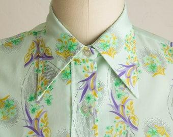Vintage 70's Mint & Purple Floral Butterfly Collar Blouse