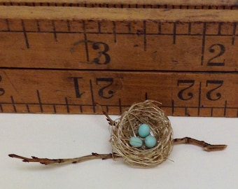 """Miniature bird's nest with eggs on twig branch 1"""" scale"""