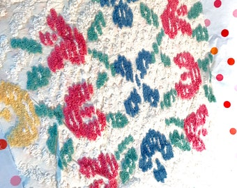 Chenille Fabric flowers bedspread piece Vintage Blue White Yellow Green