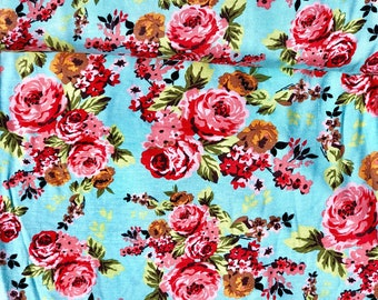 Blue floral stretchy knit Fabric, floral knit, floral knit fabric, red flower jersey knit, blue floral knit.