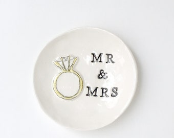 Mr & Mrs engagement gifts for couple ring dish ready to ship handmade by Cathie Carlson