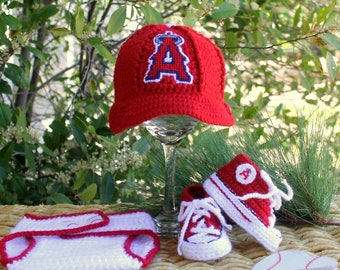 Baby BASEBALL Hat and Shoes, Anahiem ANGELS Baby Hat, Angels Baby Shoes (Handmade by me and not affiliated with the MLB)
