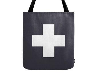 Swiss cross tote bag swiss cross bag black tote bag black canvas tote bag black and white swiss cross bag gift for her modern bag