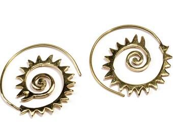 Small Spiral Brass Zigzag and swirls design Earrings handmade, Tribal Earrings, Nickel Free, Indian Inspired, Gift boxed,Free UK postage BG8