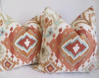 Coral Aqua Pillow Cover, 18x18, 20x20, Coral Pillow Cover, Decorative Pillow, Aqua Pillow Cover, Pillow Cover, Pillow, Coral Pillow