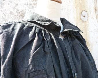 Antique 1890s French Victorian black thick linen biaude / workwear / farmer shirt/chore short