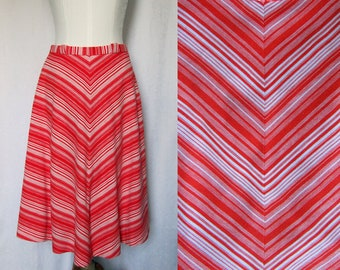 1970's Vintage, Chevron skirt, jersey, lined