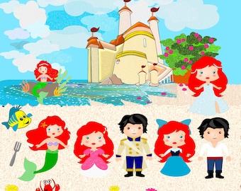 Cute Little Mermaid Clip art,  Mermaid Clip art,  Commercial use - Vector graphics- digital clip art images, Instant download