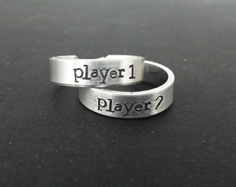 "Player 1 - Player 2 - Geeky 1/4"" Aluminum Adjustable Ring Set of 2 - Hand Stamped - Romance - Couple"