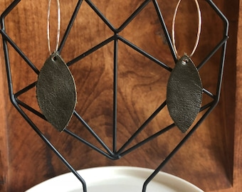Loop and Pointed Leaf Leather Earrings